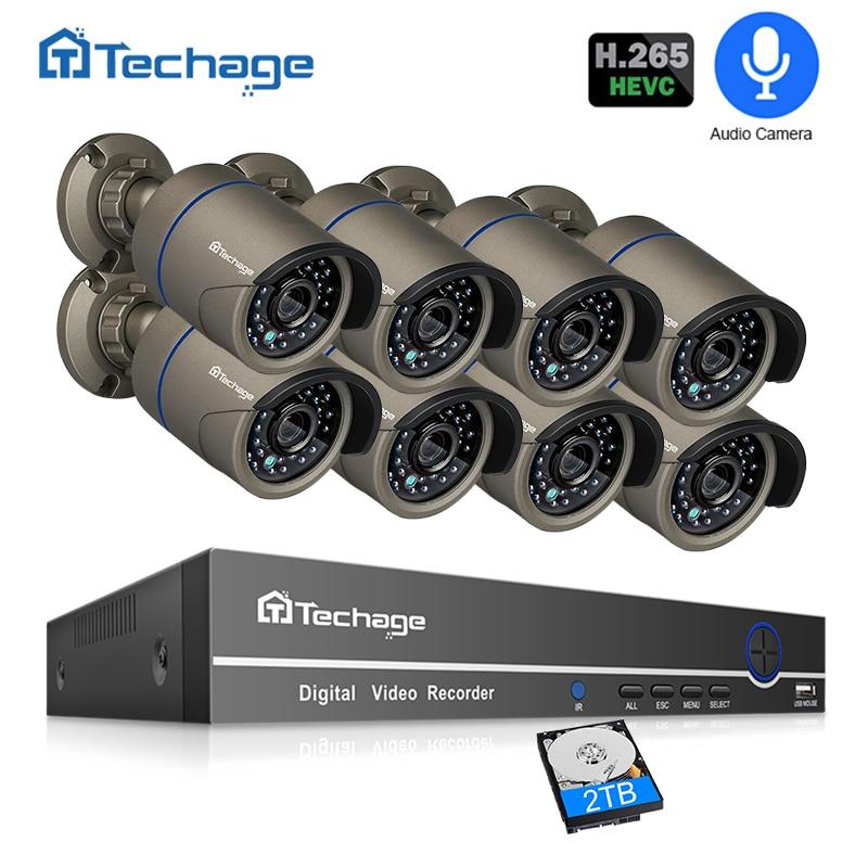 H.265 POE CCTV Sicherheit System 8CH 1080 P NVR Audio Record 2MP Outdoor PoE IP Kamera IR Nacht P2P Video überwachung Kit 2 TB HDD