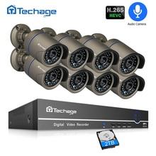 H.265 POE видеонаблюдения Системы 8CH 1080 P NVR аудио запись 2MP Открытый PoE IP Камера ИК ночного P2P комплект видеонаблюдения 2 ТБ HDD