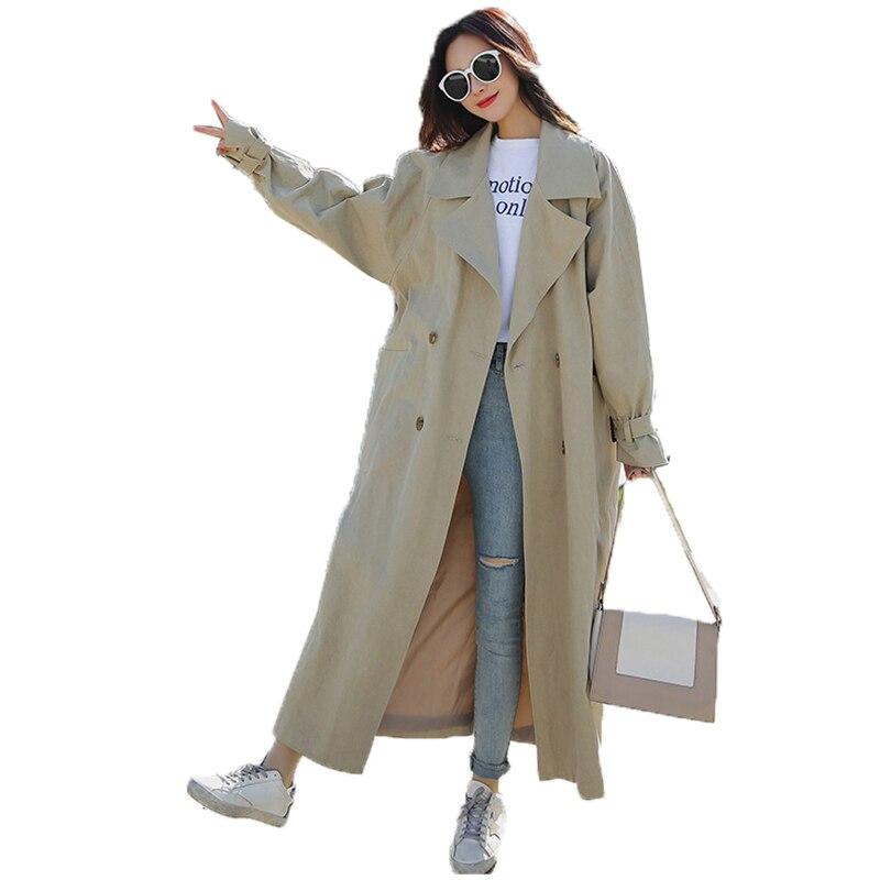 Trench   coat Famme 2018 spring new split double-breasted Korean version bandwidth long loose lapel windbreaker female Coat A262