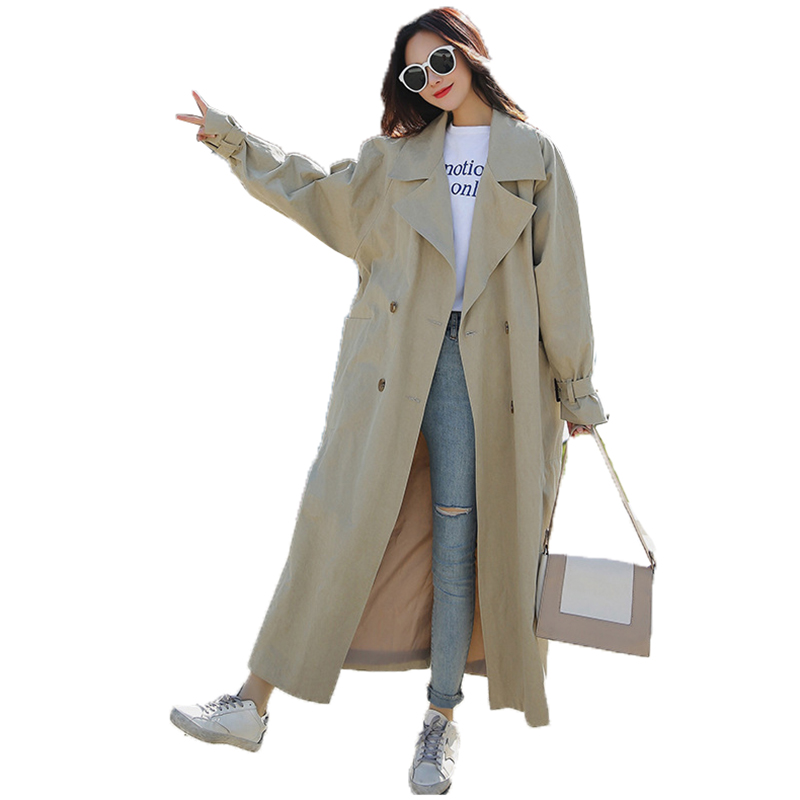 Trench coat Famme 2018 spring new split double-breasted Korean version bandwidth long loose lapel windbreaker female Coat A262