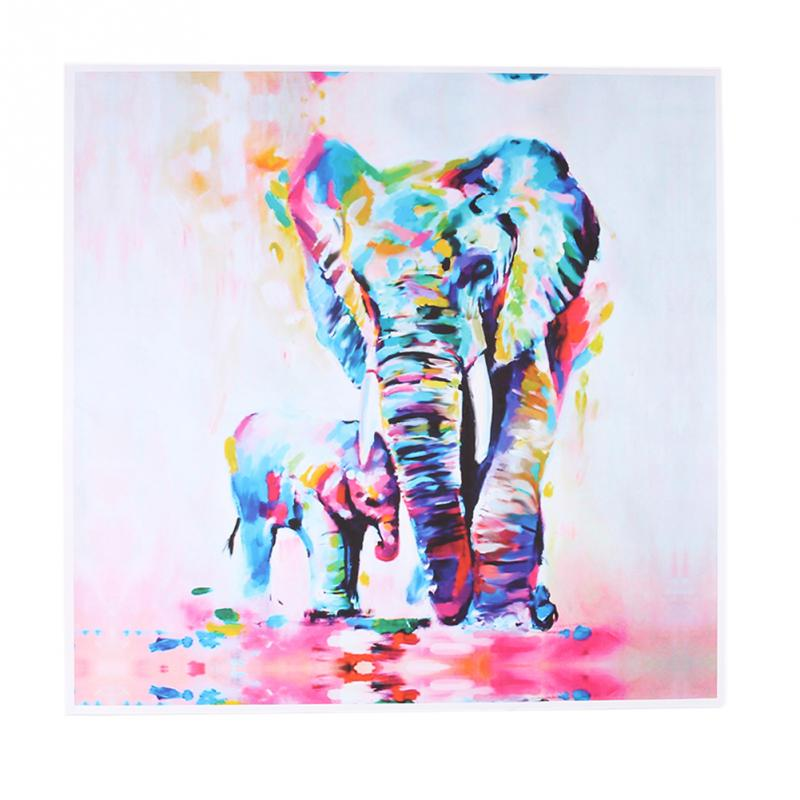 60cm Watercolor Elephant Oil Colorful Modern Abstract Art