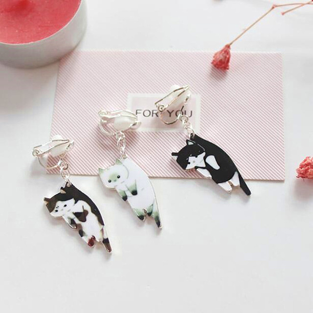 Timlee E240  Free shipping New Nifty Lovely Cat Kitty Dangle Earrings  wholesale