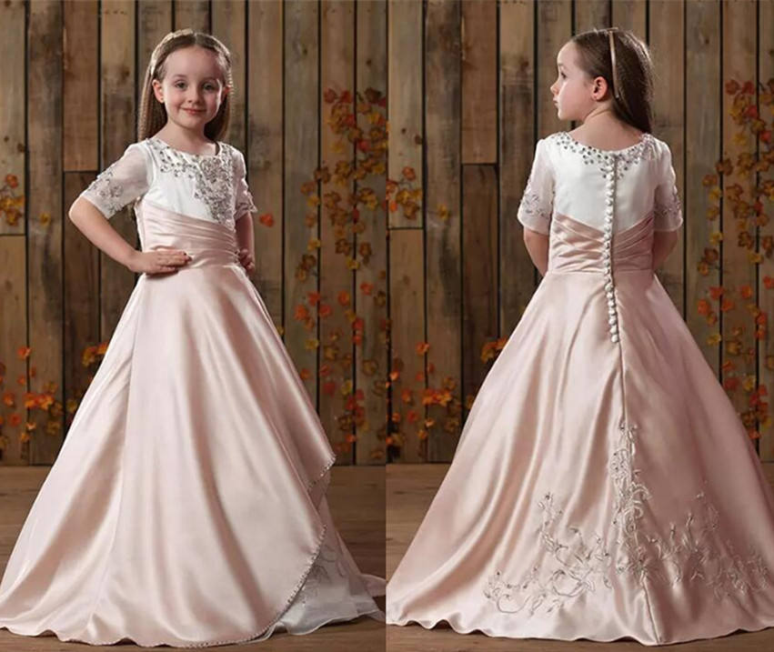 2017 New Arrival A-Line Girls Pageant Dresses Jewel Half Sleeve Floor-Length Ruffle Appliques Sequins Kids Formal Gowns ruffle trim a line dress