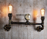 Aged Steel Pipe Lighting Industrial Water Pipe Lamps Black Or Brass Finished 110V 220V E27 2