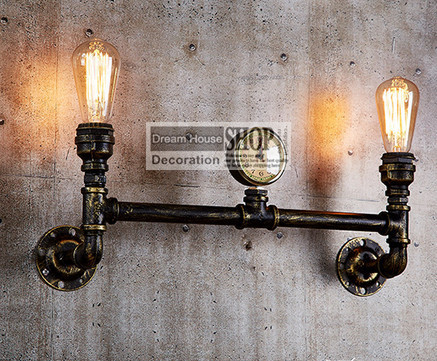 Aged steel pipe lighting industrial water pipe lamps black for Black iron pipe lights