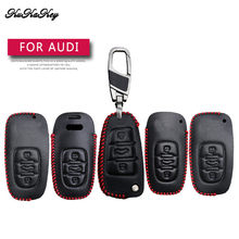 KUKAKEY Red Line Car Key Case Cover For Audi A1 A2 A3 A4 A5 A6 A7 Q3 Q5 Q7 TT B8 B7 A4L A6L S5 S6 S7 S8 Key Bag Fob Shell Chains(China)