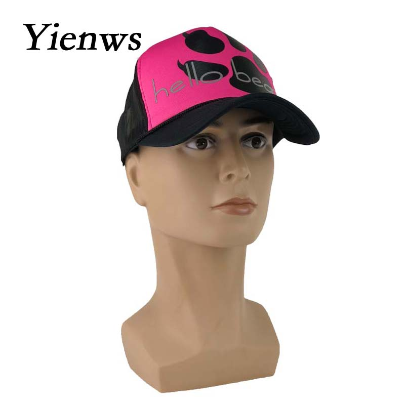 Yienws Summer Mesh Baseball Caps For Women Hello Bear Cartoon Net Bone Female Trucker Hats Rosy Curved Cap YIC222 In From Womens Clothing