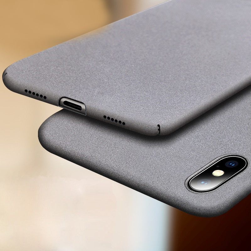 For Iphone XS Max XR X XS Slim Sandstone Hard Shell Back Cover Case For Iphone 8 7 6 6S PLUS 5 5S SE Full cover Matte case iPhone XS