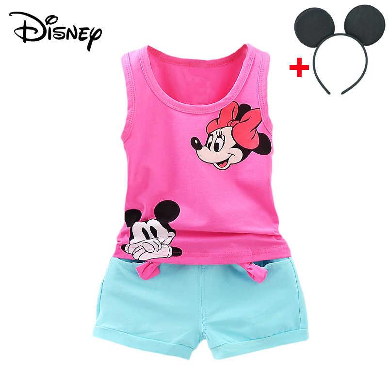 Disney Mickey Minnie แช่แข็งเด็กเสื้อผ้าเด็กชุดฤดูใบไม้ผลิฤดูใบไม้ร่วงเสื้อกางเกงแขนกุดชุดเด็ก bebes ชุดวิ่งออกกำลังกาย