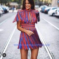 Paris Fashion 2018 Star Style Runway Designer Dress Women's Luxurious Colorful Striped Tassel Dress