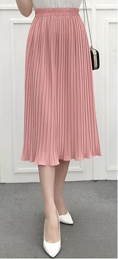 Spring and Autumn Women's High Waist Pleated Solid Color Half Length Elastic Skirt Promotions Lady Black Pink