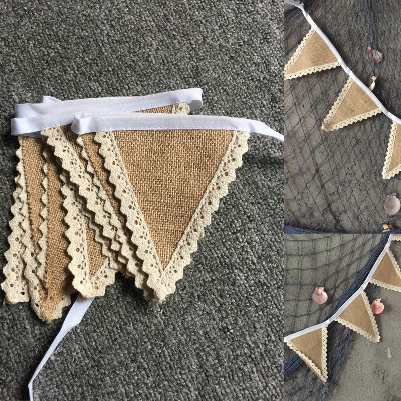 DIY home decoration banner event party supplies jute flag Rustic