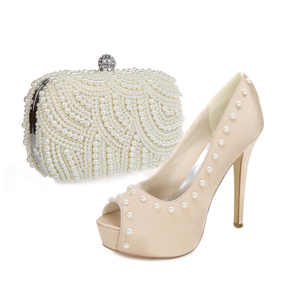 Open toe platform dress shoes with full pearls clutch bag party prom cocktail wedding royal blue champagne silver grey ivory