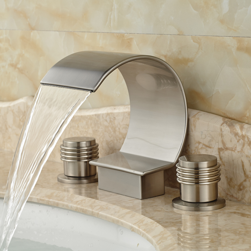 ФОТО Dual Handle Widespread Basin Faucet Deck Mount Three Holes Waterfall Bathroom Mixers Brushed Nickel Finish