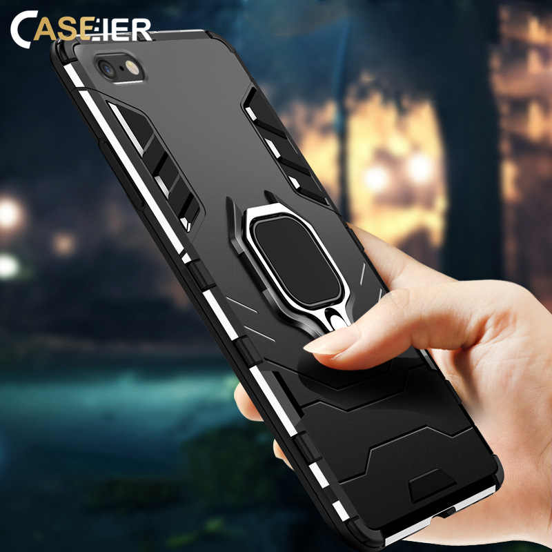 CASEIER Ultra Anti-fall Phone Case For iPhone XS MAX X XR  4 In 1 Case For iPhone 8 7 6 6S 5 5s Plus Capa Magnetic Finger Holder
