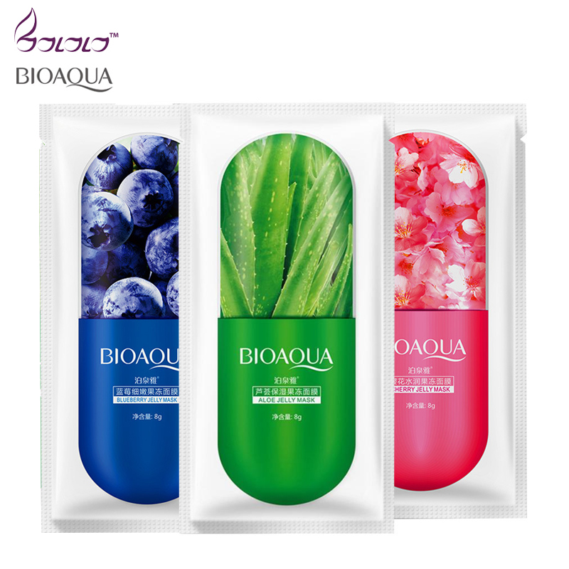 BIOAOUA Face Mask Moisturing Hydrating Anti-Aging Whitening Aloe Vera Jully Gel Facial Sheet Mask Depth Replenishment Skin Care