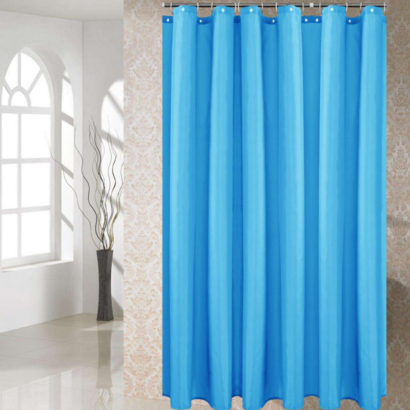 Polyester Fabric Shower Curtain with 12 pcs Hooks Waterproof Plastic Bath Screens Solid Color Eco friendly