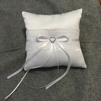 Bow Ribbon Rhinestone Romantic Ring Pillow White Lace Bridal Wedding Ceremony Ring Pillow with Ribbons Decoration Party Supplies