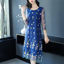 Women shirt dress long sleeves plus size large big clothes blue embroidery floral robe elegant party dresses autumn winter 2018