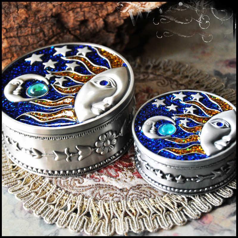 Vintage Antique Jewelry Box Bahamut Treasure Box Celestial Blue Sun Moon &  Stars Design Pewter Trinket Box Jewelry Organizer