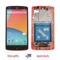 For LG Google Nexus 5 D820 D821 LCD Display + Touch Screen with Digitizer + Bezel Frame Assembly + Tools ,Red  Free shipping