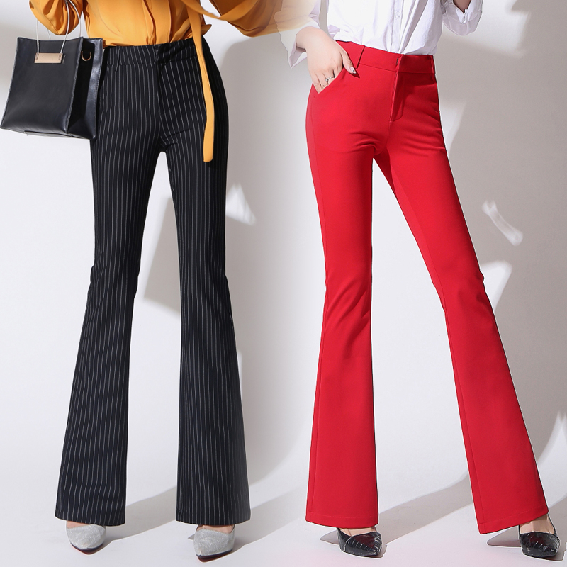 2019 Autumn New Straight Micro-pants Female Trousers Slim Was Thin Bell Pants Stripes High Waist Stretch OL Pants Women Pants