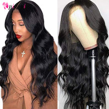 Perruque Lace Frontal Wig 360 Body Wave brésilienne | Perruques Lace Front Wig, cheveux naturels, 13x4, 4x4(China)