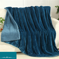 Yazi Sherpa Large Warm Thick Throw Blanket Coverlet Reversible Double Layer Cashmere Fuzzy Microfiber Quilt Bed
