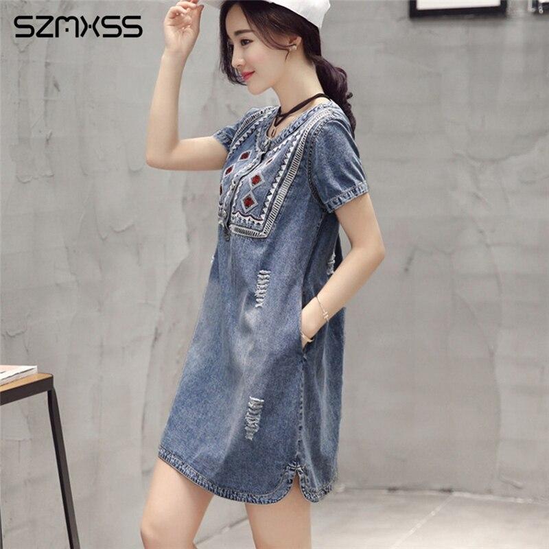 Summer 2017 Denim Dress Women Sundress Retro Vintage Embroidery Soft
