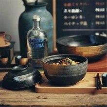 KINGLANG в японском стиле ретро чаша для моллюсков домашняя керамическая тарелка с крышкой Цзиндэчжэнь лапша быстрого приготовления ramen чаша Персонализированная посуда