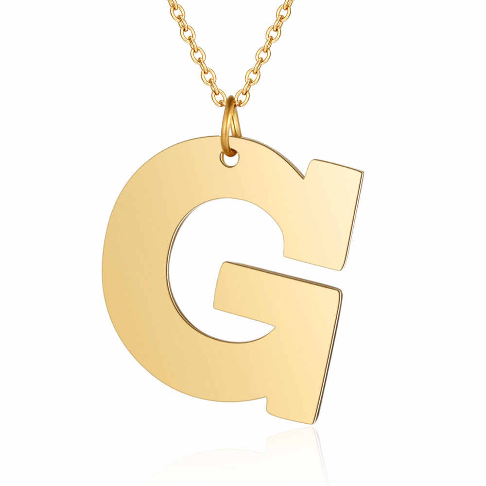 100% Stainless Steel Golden Filled Fashion Initial Name Pendant Necklace 35mm Big Size A-Z Alphabet Letter Pendants Neckleces
