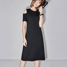 Amii Casual Women Dress 2018 Summer Solid A-line Cold Shoulder Mid-Calf Office Lady Dresses