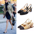 Shoes woman decoration thick heel sandals square toe high heeled lady style shoes genuine leather shoes with the women