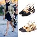 Zapatos de mujer decoración sandalias de tacón grueso dedo del pie cuadrado de tacón alto de la señora zapatos de estilo zapatos de cuero genuino con las mujeres