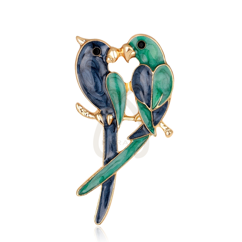 Green Enamel Parrot Macaw Love Bird Rhinestone Crystal Brooch Pin Pins & Brooches Jewelry & Watches