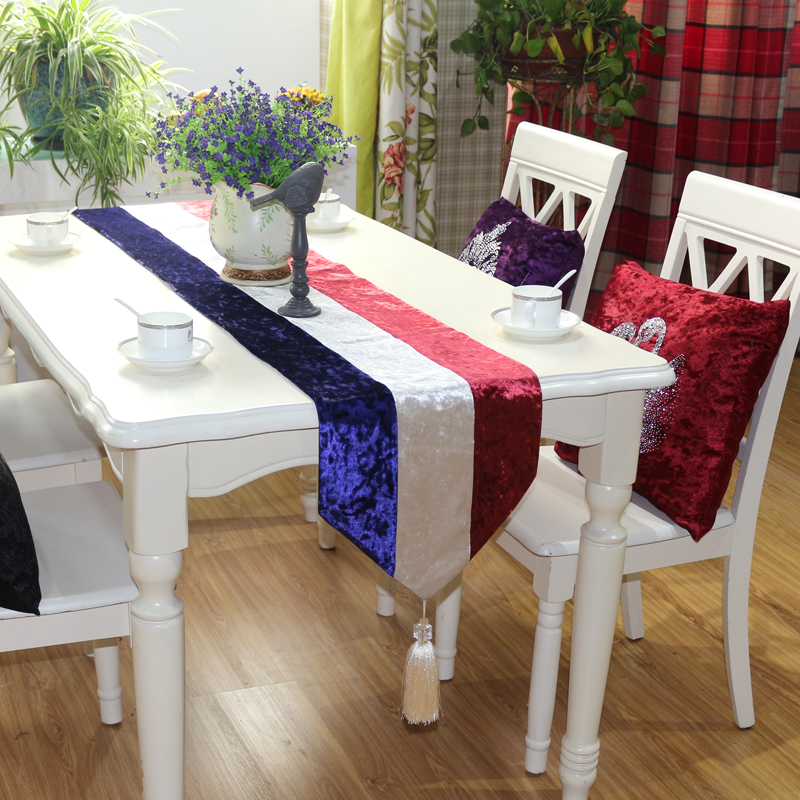Red And White Blue Stripes Luxury Velvet Diamond Head Table Runner  Placemats Fabric Coffee Table Flag