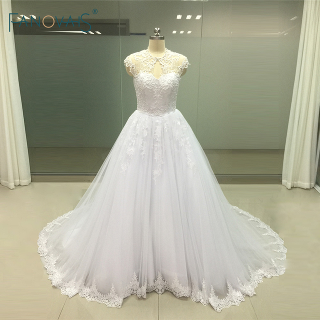 High Fashion Ball Gown Illusion Neckline Wedding Dresses Sheer Neck ...