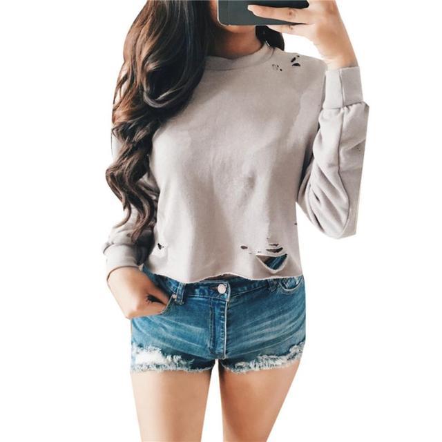 Camiseta de la manera de Las Mujeres 2016 Del Resorte Del Otoño Ahueca Hacia Fuera Corto Largo Las Mujeres de manga Ronda de Cuello Tops Camiseta Femme Gris de Color Caqui Blanco