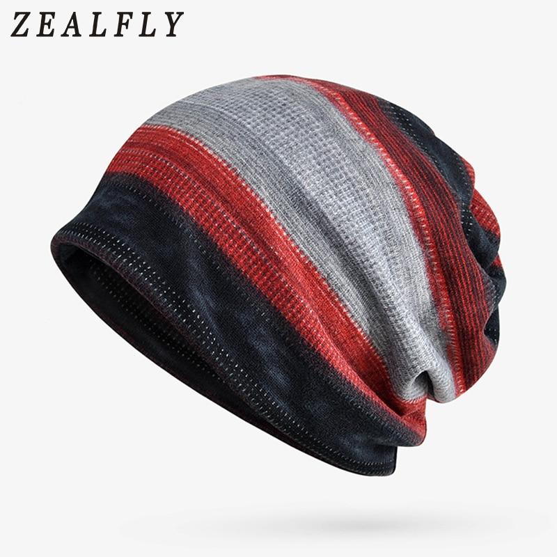 Autumn Winter Hats For Women Fashion Stripes   Skullies     Beanies   2-In-1 Cap Bib Dual-Use Men Cap Neck Warm Stocking Hats