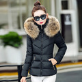 2016 Fashion New Arrive Winter Women Short Down Cotton Coat Slim All Match Thick Warm Fake Fur Collar Women Casual Parkas
