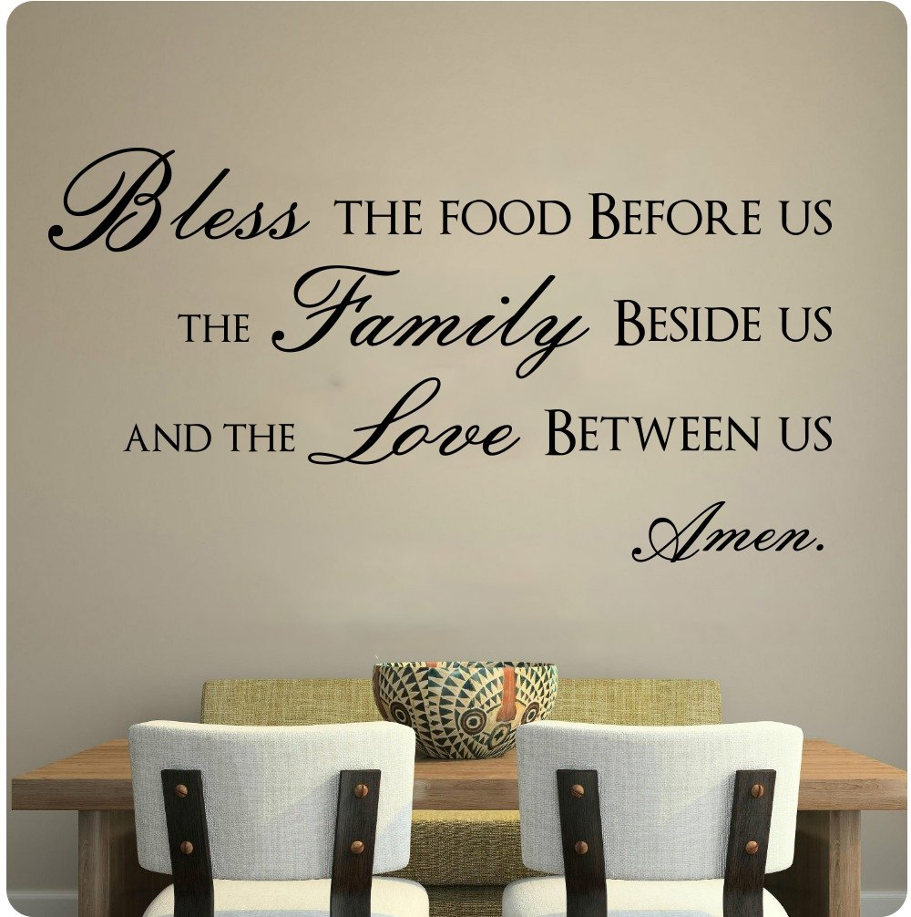 HWHD Bless This Food Before Us The Family Beside Us And The Love Between Us Wall Decal Sticker Art Mural Home decor Quote ...
