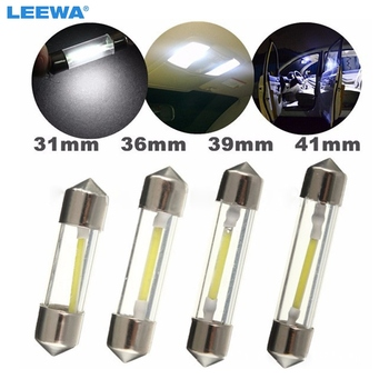 LEEWA 300pcs White Car Arrival Durable COB LED Chips C5W 31/36/39/41mm Car Interior Glass Lens Festoon Dome Reading Light #4625