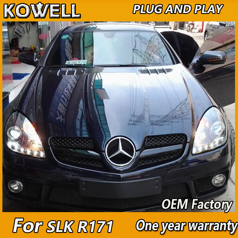 KOWELL Car Styling LED for Mercedes-Benz SLK <font><b>R171</b></font> SLK200 SLK350 SLK500 LED Projector <font><b>Headlights</b></font> with LED line Fit 2004-2012 year image