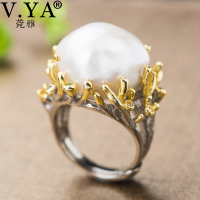V.YA Adjustable Baroque Pearl 925 Silver Ring Retro Hyperbole Asymmetry Shaped Pearl Ring Women Vintage Jewelry