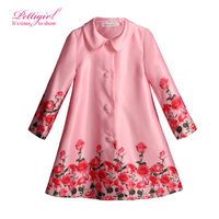 Pettigirl Boutique Full Girls Coats Floral Printed Jackets For Girls Kids Outwear with Red Rose OC80924-70W
