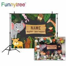 Funnytree birthday backgrounds for photography studio Safari Jungle party animals cartoon forest kid backdrop printed photocall funnytree photography background tropical jungle animals birthday dessert table decor backdrop photocall photo studio printed