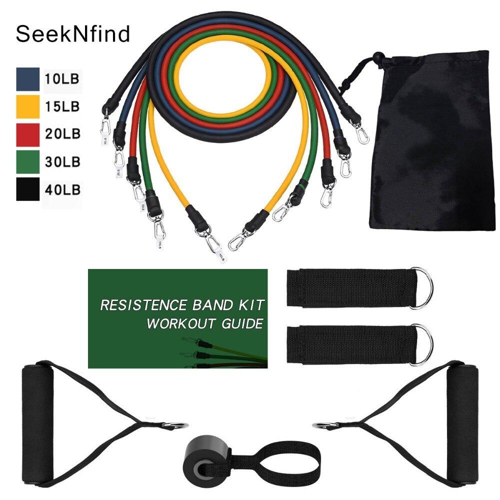 11 pçs/set faixas da resistência da aptidão elástico de borracha string peito desenvolvedor ginásio tubos conjunto banda resistência crossfit fitness goma