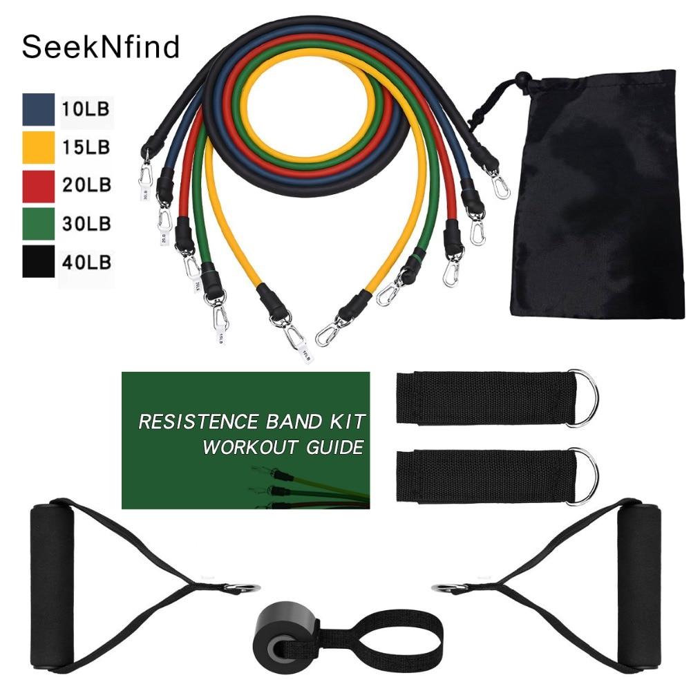 11pcs/set Fitness Resistance Bands Rubber Elastic String Chest Developer Gym Tubes Set Resistance Band Crossfit Fitness Gum