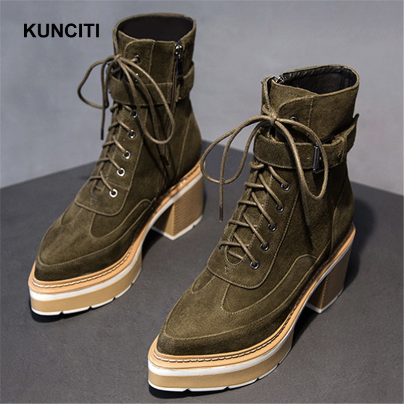 2019 KUNCITI Army Green Military Platform Boots Pointed Toe Ankle Boots Lace Up Winter Warm Shoes