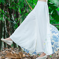 Summer 2016 Women's Spring New Boho Style Printed Chiffon Wide Leg Pants Fashion Full Length Comfy All-match Loose Pants